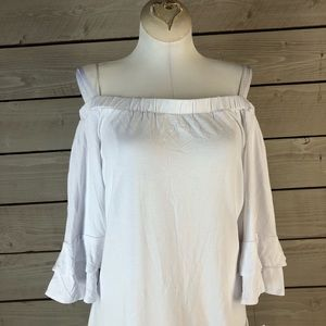 NY Collection White Off the Shoulder Bell Sleeve